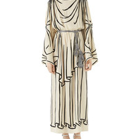 Gucci Light Georgette Tunic Gown with Trompe-lOeil Embroidery