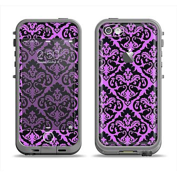 The Black & Purple Delicate Pattern Apple iPhone 5c LifeProof Fre Case Skin Set