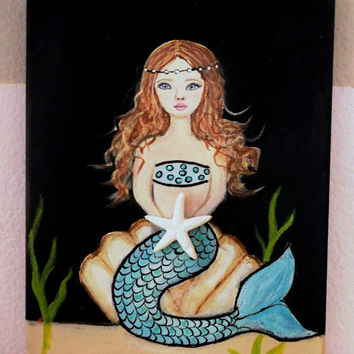 Mermaid Art- Girls Room Decor- Acrylic Painting- Beach Wall Hanging- Nursery Art-9X12 inches