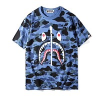 BAPE AAPE Summer Trending Couple Cool Camouflage Shark Mouth Print Zipper T-Shirt Top Blue
