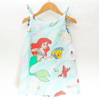 BEATRICE in little mermaid Ariel/fishy print - Expect Clothing Reversible 100% cotton baby dress with adjustable straps Size 2T