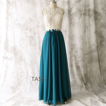 Teal Chiffon Long Bridesmaid dress, Wedding dress, Chiffon Lace dress, Party dress, Formal Dress, Teal Prom dresses
