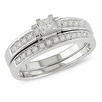 1/3 CT. T.W. Princess-Cut Diamond Three Stone Bridal Engagement Ring Set in 14K White Gold