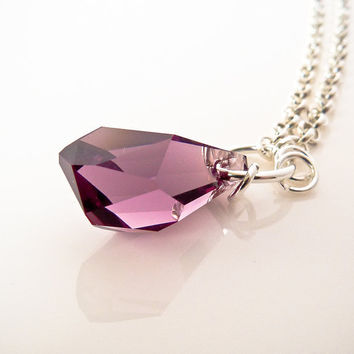 Purple Swarovski Crystal Polygon Briolette Pendant Necklace