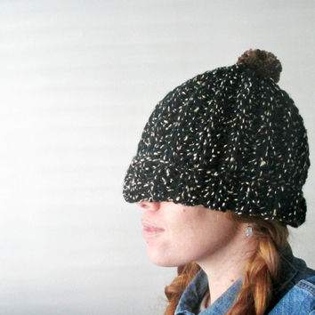 Black & Tan Pom Pom Hat. Super Soft  Chunky Handmade Beanie