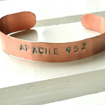Apache Tribe Stamped Copper Cuff America Indian Roll Number and Tribe Affiliation Custom Tribal Number Cherokee Navajo Native American Style