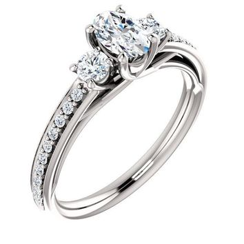 0.50 Ct Oval 3 Stone Diamond Engagement Ring 14k White Gold