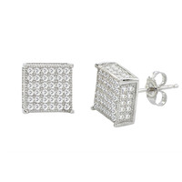 Sterling Silver Micro Pave Stud Earrings Clear Square 3d Sidestones 10mm x 10mm