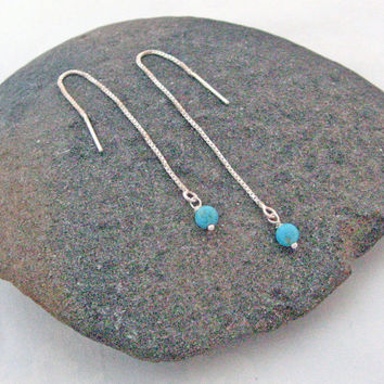 Turquoise Threader Earrings, 925 Sterling Silver, Long Chain Earrings, Dangle Stone Earrings, Modern Design, Delicate Turquoise Earrings