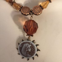 Bronze and Sun  Egyptian  Queen Necklace/Free Shipping