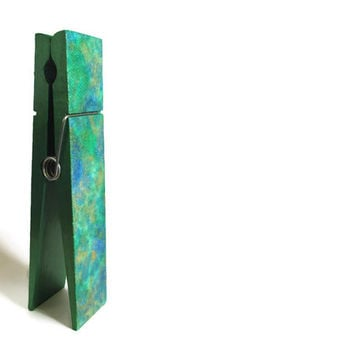 Large Decorative Clothespin in emerald green with blue and gold office decor note holder, photo holder coworker gift