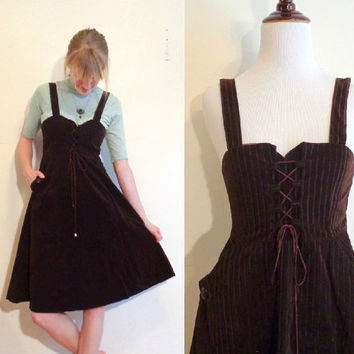 70s vintage lace up dress overalls corset brown velvet dress with pockets striped babydoll Chinese vintage dress
