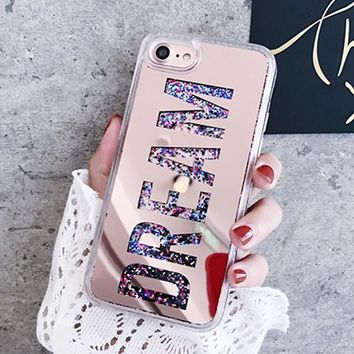 Letter Dream Mirror Bling Dynamic Liquid phone case For iPhone