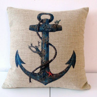 HOSL Cotton Linen Square Throw Pillow Case Decorative Cushion Cover Pillowcase for Sofa Blue Rusty Anchor with Coral 18 'X18 '