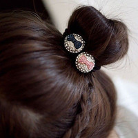 Korean Style Women Crystal Flowers Bow Hair Band Rope Scrunchie Ponytail Holder