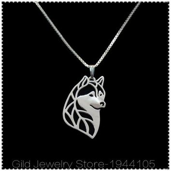 Unique! Siberian Husky Pendant With Link Chain Style Necklace