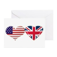 USA and UK Heart Flag Greeting Cards (Pk of 20) on CafePress.com