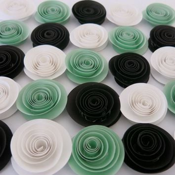 "Mint Green, Black and White Paper Roses, 24 flower set, Bridal shower table decor, Baby nursery decorations, Wedding centerpiece ideas 1.5"" rosebuds"