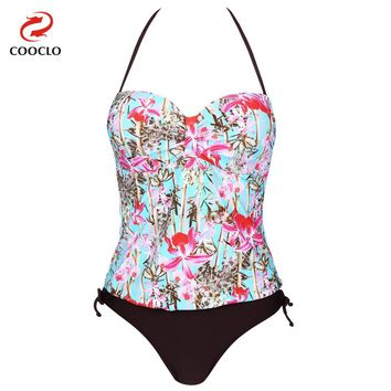 COOCLO Women Swimwear Beachwear Two Pieces Tankini Floral Print Push up Swimsuit Halter Bathing Suit for Women Brazilian Bottom