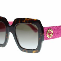 Gucci Women Sunglasses GG0102S 003 Havana/Pink Brown Gradient Lens 54m Authentic