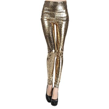 Sexy & night club woman gold snake leggings high waisted blink print slim fit legging for women PU faux leather legging SM9616