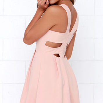 Refined and Dandy Blush Sleeveless Dress