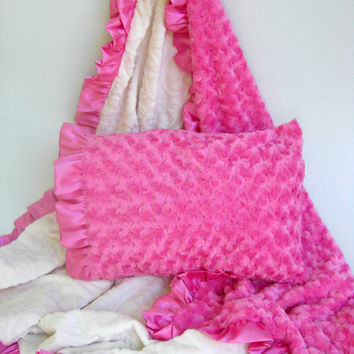 SALE Fuchsia Hot Pink and Ivory Vine Minky Blanket for Girl