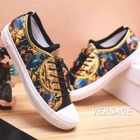 Versace New fashion flower print men floral shoes single shoes Golden