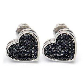 Jewelry Kay style Iced Out Silver Plated Pave Lab Diamond Caved Heart Screw Back Earrings 921 SBK