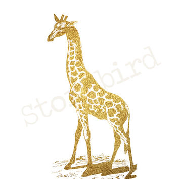 Giraffe Faux Gold Foil - Wall Art - Animal - Home Decor  - Print - Artwork - 5x7 or 8x10