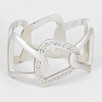 Hinged Metal Cutout Bangle Bracelet