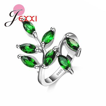JEXXI 2017 Luxury Green Leaf Design Cubic Zirconia Rings 925 Sterling Silver Women Wedding Engagement Party Rings Jewerly
