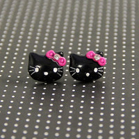 Black Hello Kitty Earring Studs