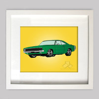 Green Dodge Charger 8x10 Illustration for Boys Room Decor, Nursery Wall Art, Boys Room Art, or Toddler Boys Room(Digtial Download)