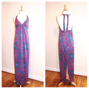 70s Maxi Dress Paisley Unusual Drop Back Halter Sundress Beachwear Empire Waist Hippie Dress size Medium