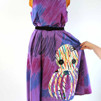 purple octopus maxi dress summer sundress - crayon scribble print dress w/ applique colored pencil print cephalopod - women's large / xl
