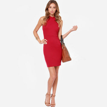 Womens Red Backless Dress Summer Gift 46