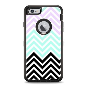 The Light Teal & Purple Sharp Black Chevron Apple iPhone 6 Plus Otterbox Defender Case Skin