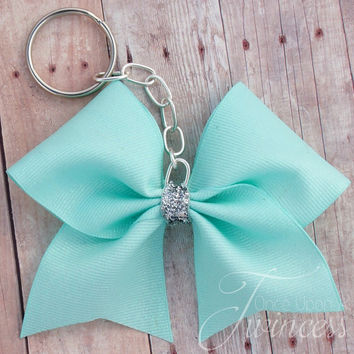 Cheer Bow Keychain Mint Glitter - gifts for cheerleaders - stocking stuffer - cheerleading keychain - girly keychain