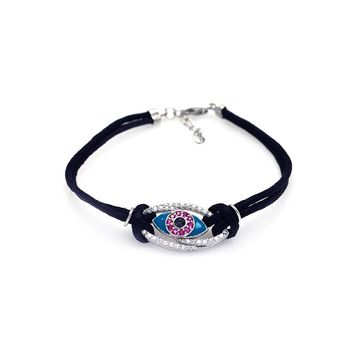 .925 Sterling Silver Rhodium Plated Evil Eye Clear &  Pink Black Cord Bracelet