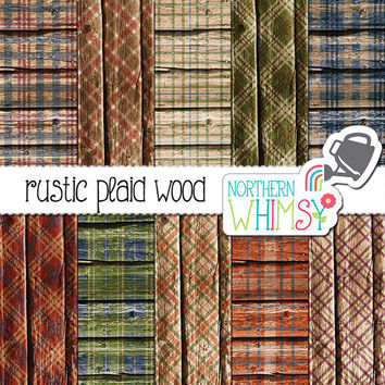 Plaid Wood Digital Paper – plaid digital paper with wood texture - plaid scrapbook paper - rustic digital paper - commercial use