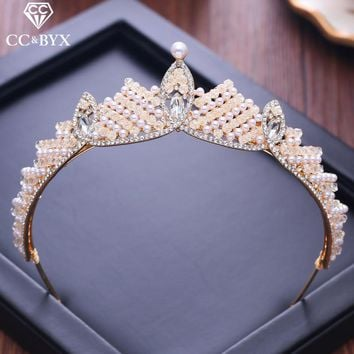 CC Tiaras And Crowns Shine Cubic Zircon Baroque Style Luxury Engagement Wedding Hair Accessories For Bride Jewelry Crystal XY054