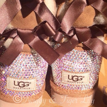 NEW - Chestnut TALL Bailey Bow Uggs With Swarovski Crystal Bling Embellishment - Crystal Bling Ugg Boots with Bows
