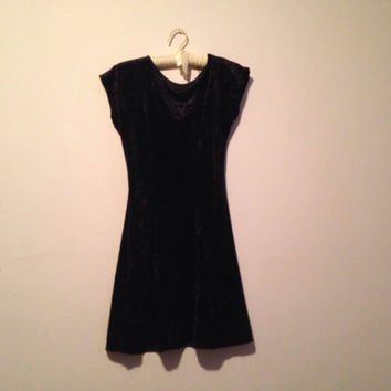 90s black crushed velvet skater dress, open back minidress, small - vintage -