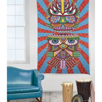 Wise Old Owl Boho Bohemian 3D Vibrant Color Wall Bed Tapestry