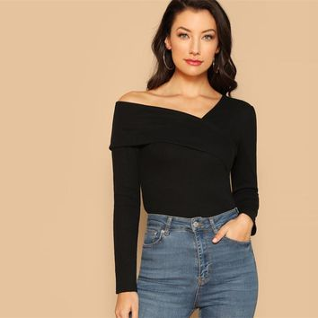 Black Off the Shoulder Foldover Asymmetrical Neck Fitted Plain Top Casual Women Modern Lady Tshirt Top