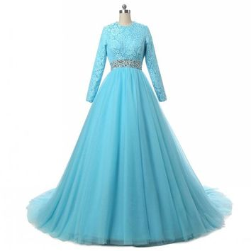 Prom Dresses long Sleeve Lace evening dress A-Line floor length party dress