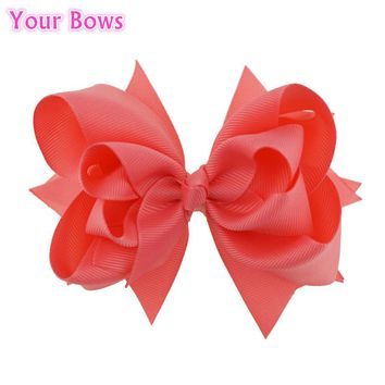 Your Bows 1PC 5 inches Kids Hair Bows 3 Layers Solid Coral Rose Bows Hair Clips Boutique Ribbon Bows For Girls Hair Accessories