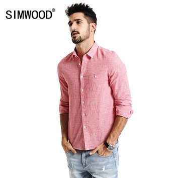 New Spring long Sleeve Casual Shirts Men Cotton and Linen Fabric Slim Fit red Plaid