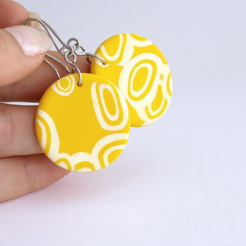 Dangle Yellow Earrings, Round Earring with Circles